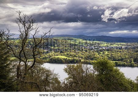 View From Claife Heights Over Stormy Landscape Of Lake Windermere In Lake District