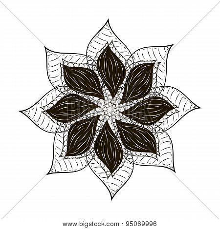 Abstract flower tard black mandala
