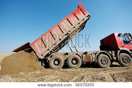 Truck Unloading Sand