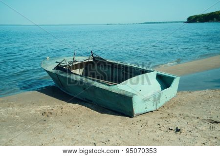 Boat on coast river