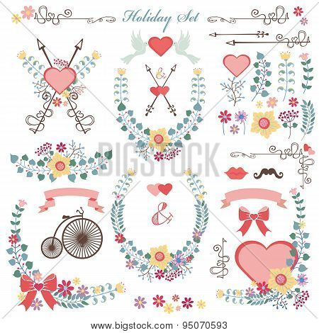 Retro Holiday set with flowers,swirls, decor.eps