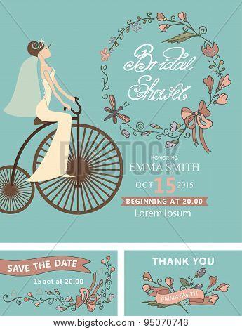 Retro Bridal shower set.Bride,floral decor,retro bicycle