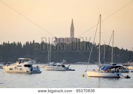 Sailboats In Front Of Saint Euphemia Bell Tower
