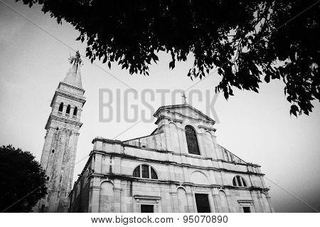Saint Euphemia Church In Rovinj At Sunset Bw