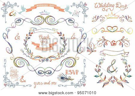 Cute wedding template set.Floral Decor elements,headline