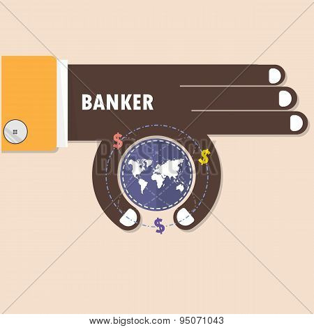Businessman Or Banker Hand And Small World Symbol In His Hand. Business And Finance Concept.