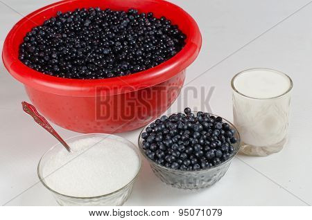 Bilberry Berries, Sugar And Milk