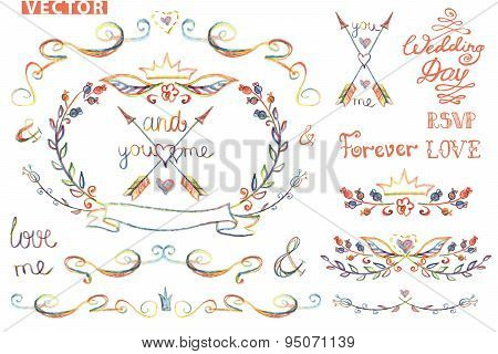 Cute wedding template kit.Floral Decor element,headline