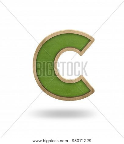 Green blank letter c shape blackboard