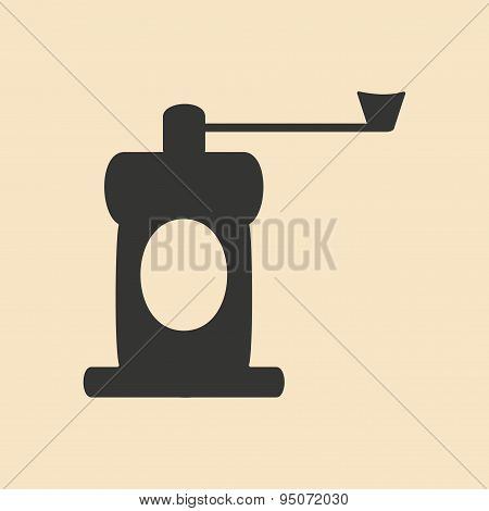Flat in black and white mobile application coffee mill