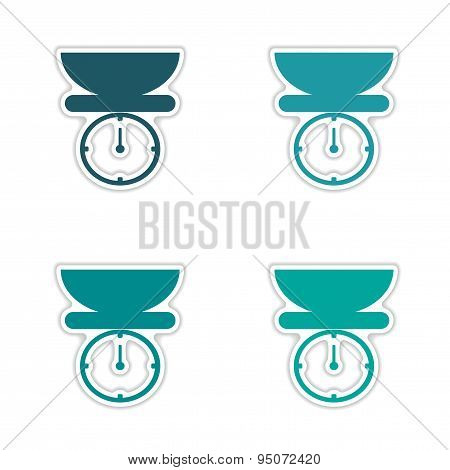 assembly realistic sticker design on paper kitchen scales