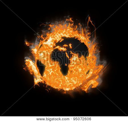 Burning planet earth