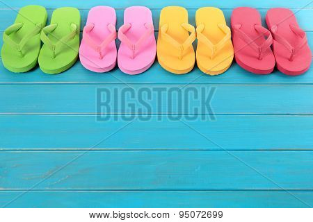 Flip Flops With Blue Decking
