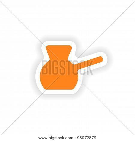 icon sticker realistic design on paper Turk coffee