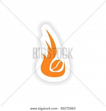 icon sticker realistic design on paper coffee roasting