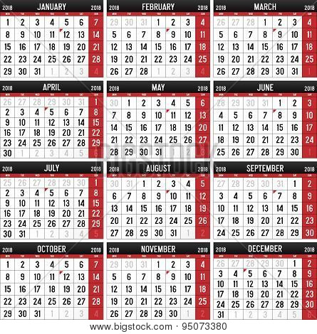 Calendar for the year of 2018