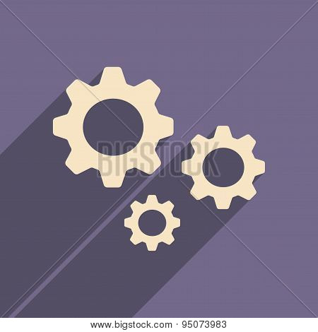Flat with shadow icon and mobile applacation gears