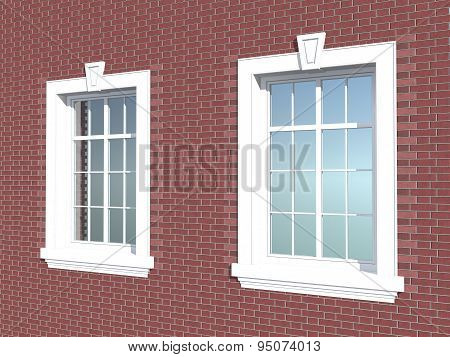 Two Windows In A Brick Wall