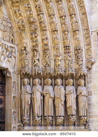 Statues of the saints Notre Dame Cathedral Paris