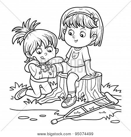 Coloring Book (two Girls On The Glade, Girl Draws On The Plastered Leg)