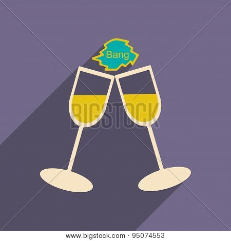 Flat with shadow icon and mobile applacation wedding wineglass