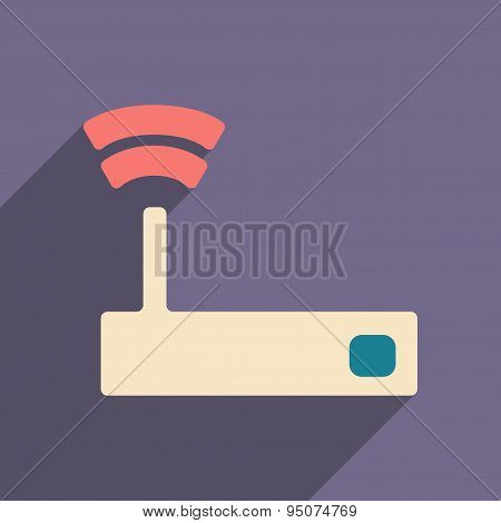 Flat with shadow icon and mobile applacation wifi router