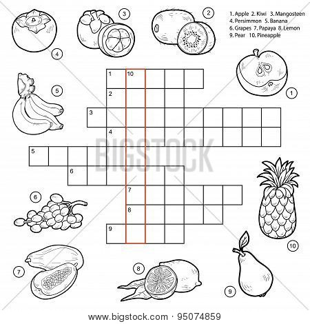Vector Crossword, Game For Children About Fruits