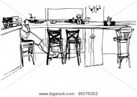 Sketch Of The Room At The Front Of The Bar