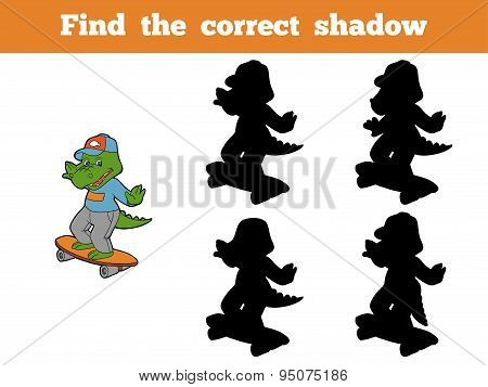 Find The Correct Shadow (crocodile And Skateboard)