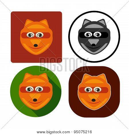 Vector Illustration Set Character Muzzle Fox