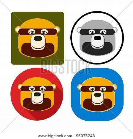 Vector Illustration Set Character Muzzle Bear