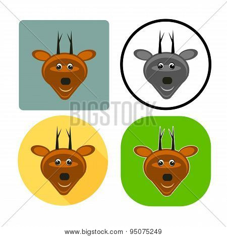 Vector Illustration Set Character Muzzle Deer