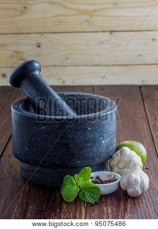 Thai herb ingredient with Pestle and mortar