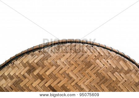 Part of rattan basket on white background