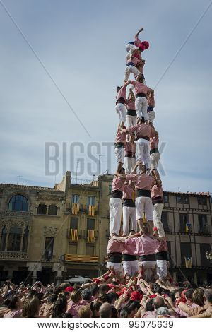 REUS, SPAIN - OCTOBER 25, 2014: Castells Performance