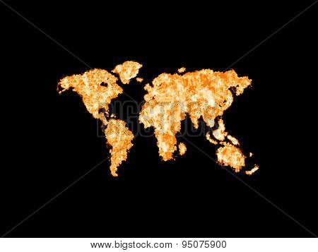 World map illustrated from fire