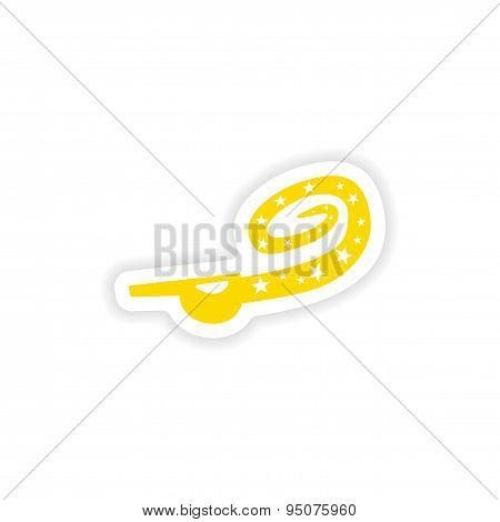 icon sticker realistic design on paper whistle holiday