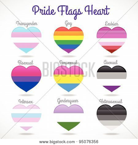 Pride flags heart signs 9 style vecter design