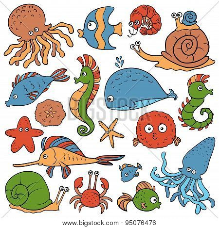 Colorless set of vector elements (sea life)
