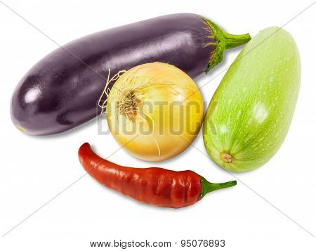 Vegetable Marrow, Onion, Eggplant And Pepper Chilly