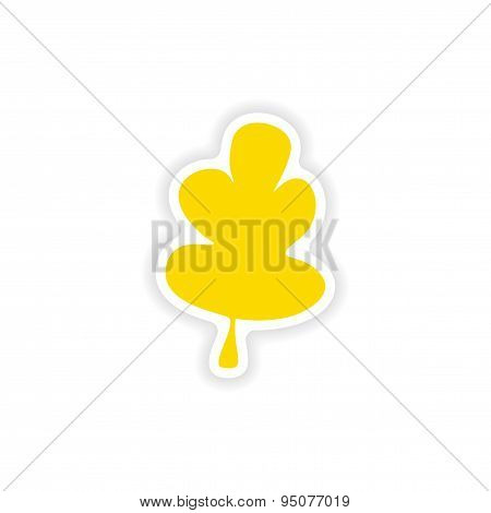 icon sticker realistic design on paper oak leaf