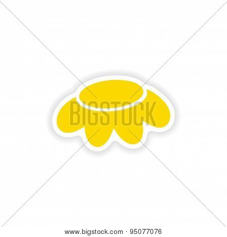icon sticker realistic design on paper camomile