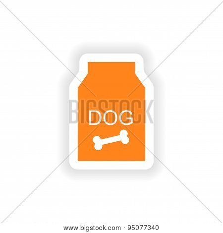 icon sticker realistic design on paper dog food