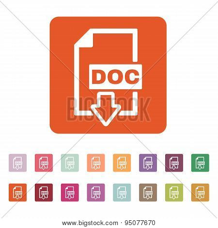 The Doc Icon. Text File Format Symbol. Flat