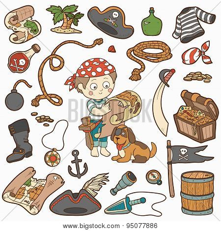 Vector set of pirate items, color cartoon collection, boy and dog playing pirates