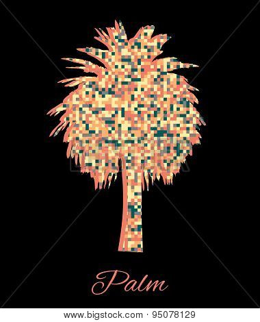 Multicolor geometric triangle summer vacation card with palm tree. Beautyful background.