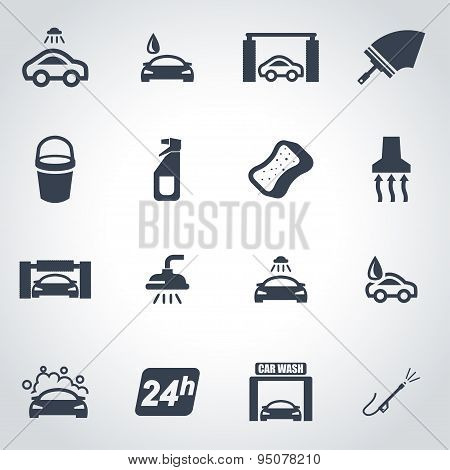 Vector Black Car Wash Icon Set