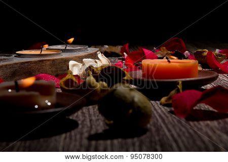 Rose Petals, Potpourri And Candles