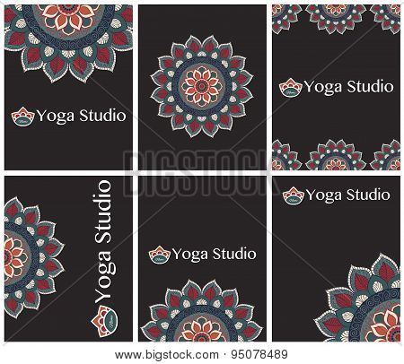 Cards, flyers or invitations for yoga studio.