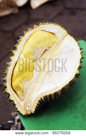 Tropical Exotic Durian Fruit In Kep Cambodia Market